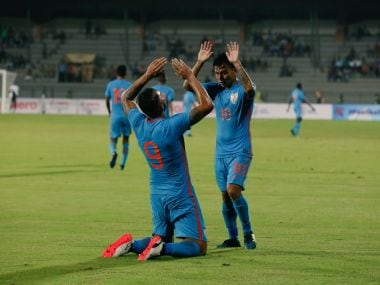 Robin Singh (L) and Jackichand Singh (R) celebrate after India's equaliser against Mauritius. Twitter/@IndianFootball