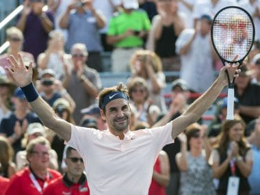 Roger Federer, of Switzerland, celebrates his victory over Roberto Bautista Agut, of Spain, during quarterfinal play at the Rogers Cup tennis tournament, Friday Aug. 11, 2017, in Montreal. (Paul Chiasson/The Canadian Press via AP)