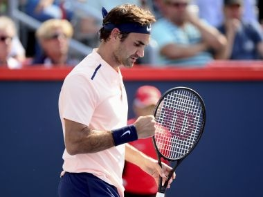 Roger Federer reacts after winning the first set against Robin Haase in their semi-final. AP