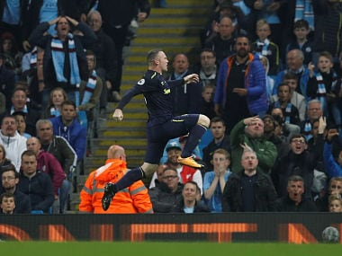 Wayne Rooney celebrates after scoring against Manchester City. Reuters
