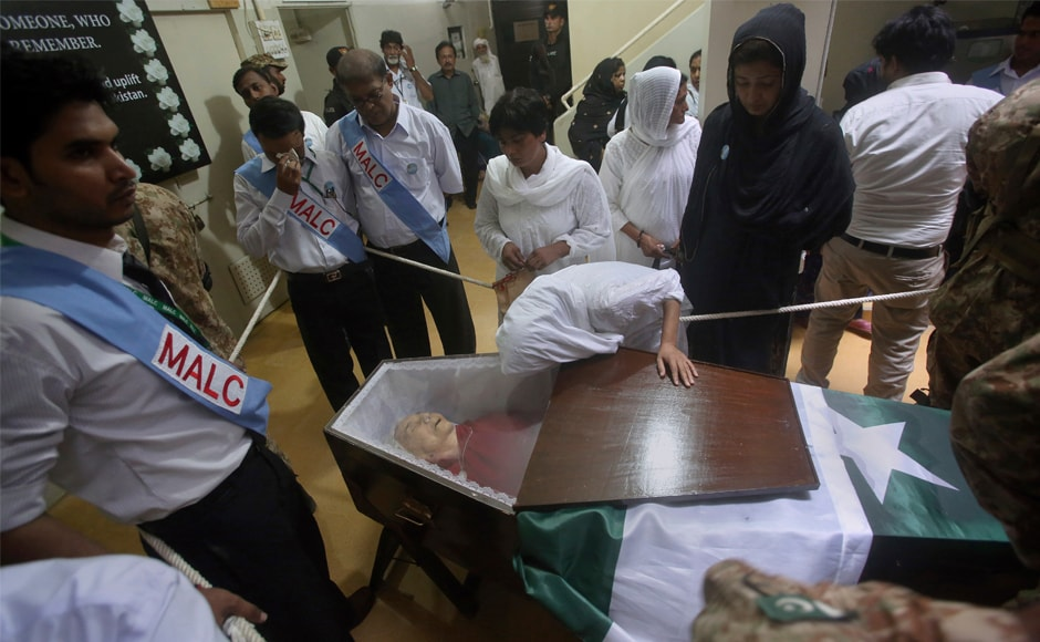 Mourners attend a state funeral of Pfau. She has been honoured by the State with the country's two highest civilian awards, the Hilal-e-Imtiaz and the Hilal-e-Pakistan. AP