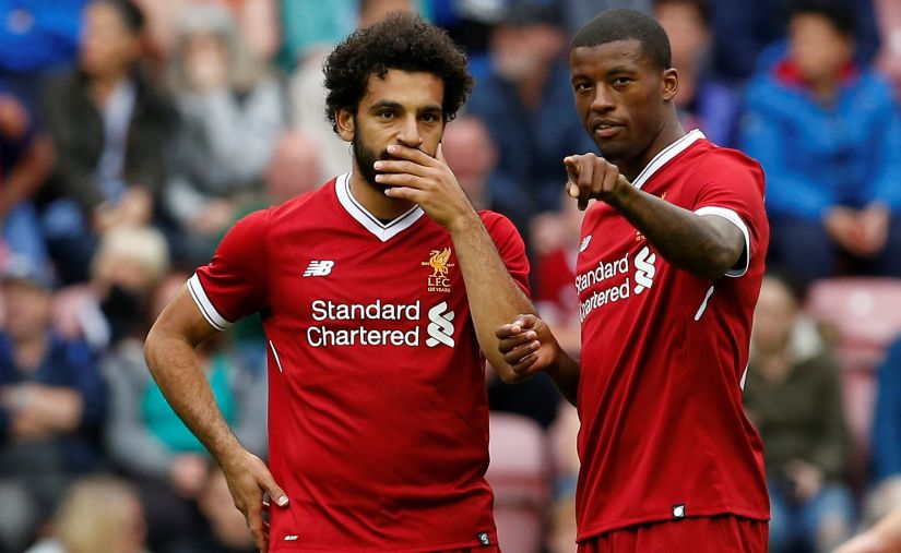 Mohamed Salah, who joined from AS Roma as an addition in attack, and Georginio Wijnaldum before a pre-season friendly. Reuters