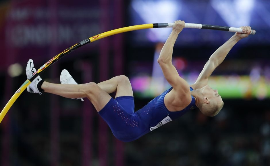 Sam Kendricks was clean through the first five jumps in the pole vault and was the only one to scale 5.95 metres. AP