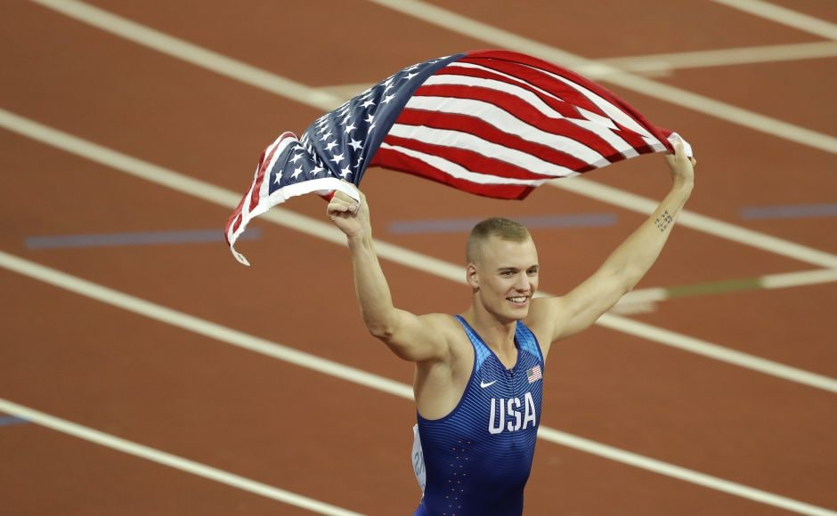 American Sam Kendricks celebrates after wining the gold medal in the men's pole vault final during the IAAF World Championships in London. AP