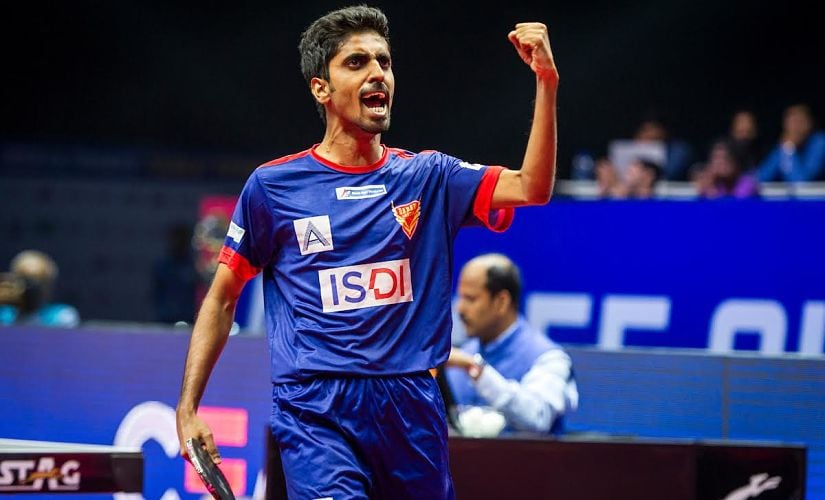 Sathiyan Gnanasekaran of Dabang Smashers TTC reacts after winning the match during the Tie 10 match of the CEAT Ultimate Table Tennis league played between DHFL Maharashtra United and Dabang Smashers TTC held at the Thyagraj Sports complex, Delhi, India on July 22, 2017. Photo : Pal Pillai/ Focus Sports / Ultimate Table Tennis