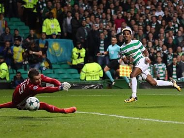 Celtic's Scott Sinclair scores past Astana's in the first leg of the Champions League playoff. Image courtesy: Twitter @ChampionsLeague
