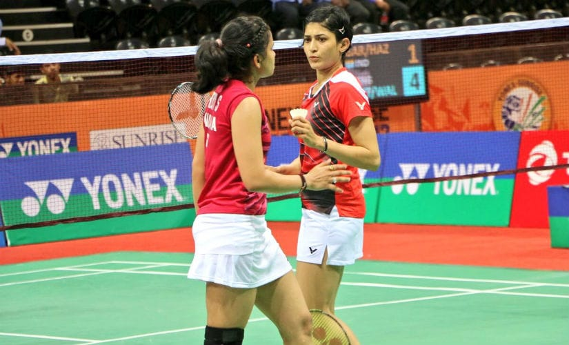 Sikki Reddy and Ashwini Ponnappa in action at the 2017 India Superseries in March. Twitter: @sikkireddy