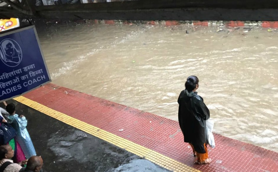 "Western Railway tweeted saying, ""Due to unprecedented heavy water logging, train services are suspended temporarily between Elphinstone Road to Dadar on all lines from 1.30 pm. Firstpost/Sulekha Nair"