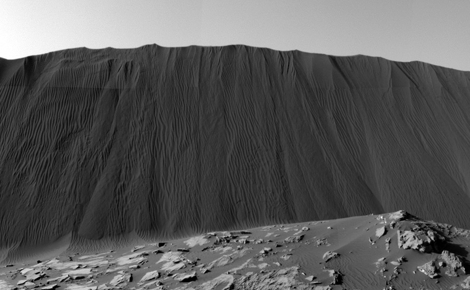 The Namib sand dune on Mars, the patterns are caused by winds. Image: NASA.
