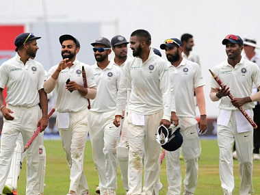 India's captain Virat Kohli celebrate with teammates as they leave the ground after their win over Sri Lanka in the third Test. AP