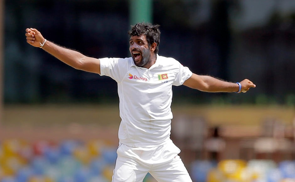 Sri Lanka's Dilruwan Perera struck on his first ball trapping Dhawan leg before wicket. The batsman missed a sweep and was given not out by the on-field umpire until it was reversed after Chandimal decided to use the DRS. AP