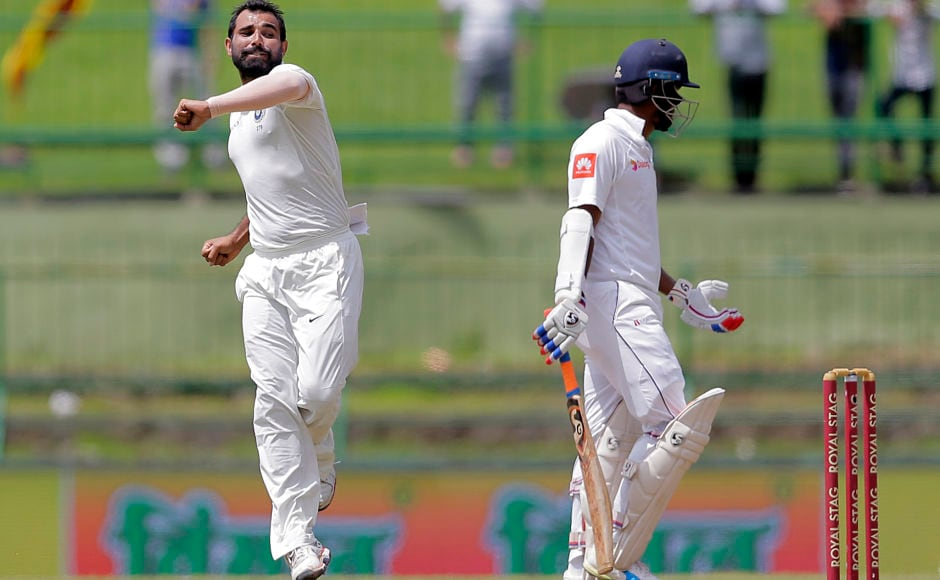 Mohammed Shami's twin strikes to dismiss both Lankan openers – Dimuth Karunaratane and Upul Tharanga – pushed the hosts back early in the innings put Sri Lanka on the backfoot. AP
