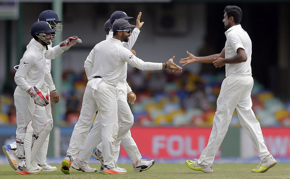 India's ace spinner Ravichandran Ashwin scalped his 26th 5-wicket haul to bundle Sri Lanka out for 183 in the first innings. Captain Virat Kohli enforced the follow on with the hosts trailing by 439-runs at the start of 2nd innings. AP