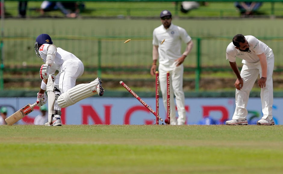 After Ashwin's wayward throw from mid on missed the stumps, Kuldeep Yadav who was backing up unleashed a rocket-throw to catchKusal Mendis short of the popping crease. AP