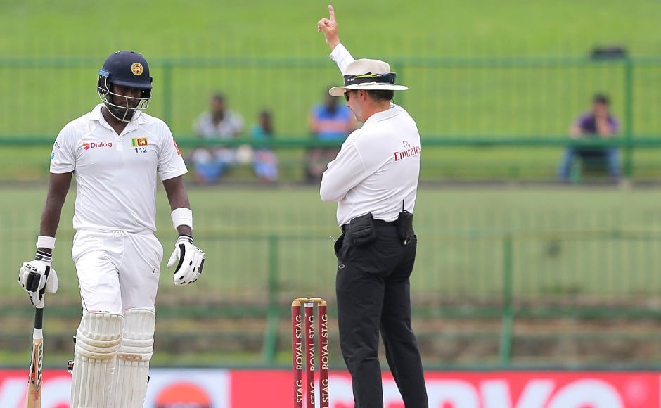 Angelo Mathews attempted the sweep to a full ball by R Ashwin and was given out by the on field umpire, despite Mathews' review the decision stood. He fell after scoring 35. AP