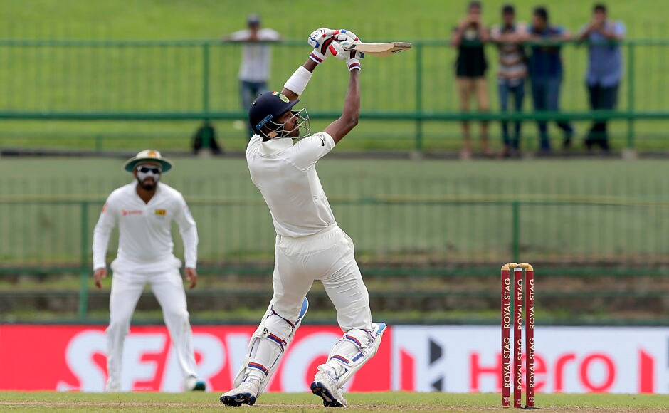 Hardik Pandya executes the extravagant ramp shot over the wicketkeeper to perfection. AP