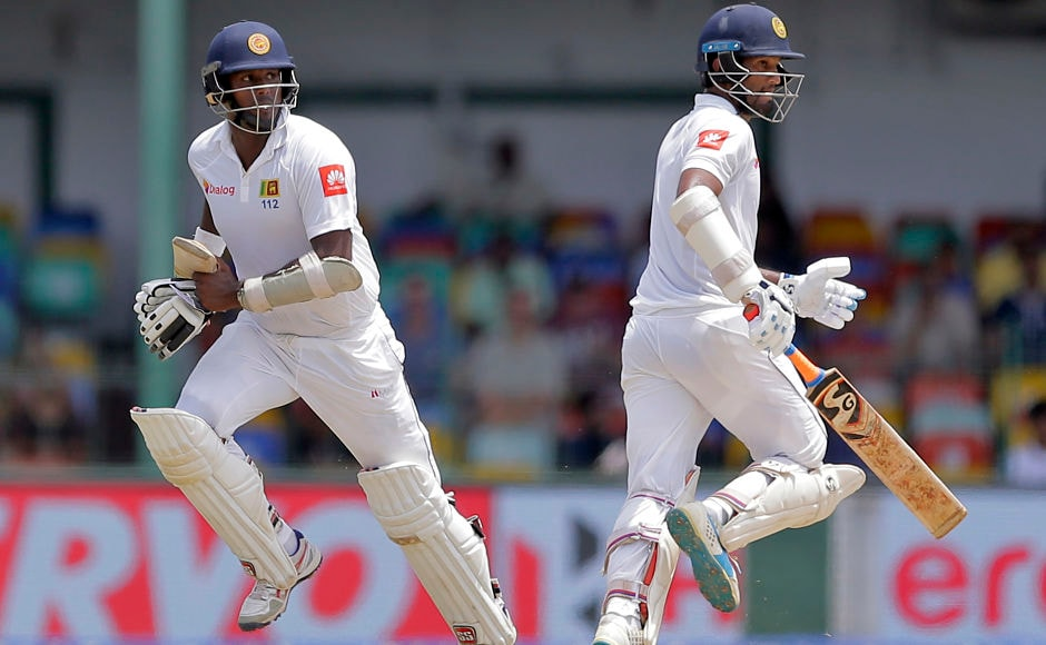 After 2 quick wickets. Dimuth Karunaratne and Angelo Mathews provided some resistance to avoid a collapse. The duo added 69 runs for the 5th wicket before Mathews was caught smartly by wicket-keeper Wriddhiman Saha for 36. AP
