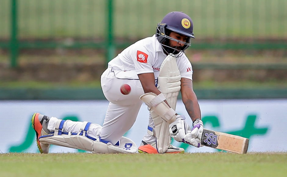Sri Lanka's wicketkeeper-batsman Niroshan Dickwella made an entertaining 41 before departing to Umesh Yadav. AP