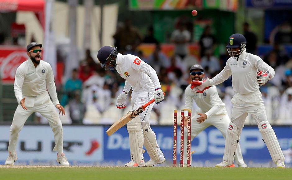 India's Ravindra Jadeja outfoxed Sri Lanka's Dhananjaya de Silva for a duck with an absolute gem. The wicket reduced the home side to 122/6 in the 1st innings. AP