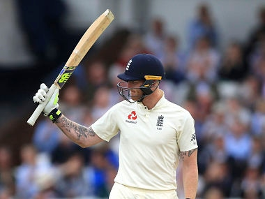 England's Ben Stokes reaches his half century during the second cricket Test match between England and West Indies, at Headingley cricket ground in Leeds, England, Friday Aug. 25, 2017. (Nigel French/PA via AP)