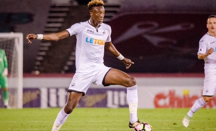 Tammy Abraham signed a five-year deal with Chelsea but was loaned out to Swansea City. Twitter/@tammyabraham