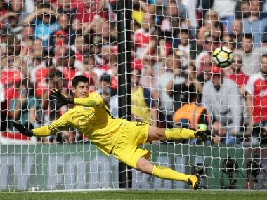 Thibaut Courtois of Chelsea had a torrid time during the ABBA penalty shootout. AFP