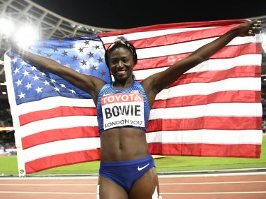 Tori Bowie of the US celebrates winning gold in the Women's 100 Metre. Reuters