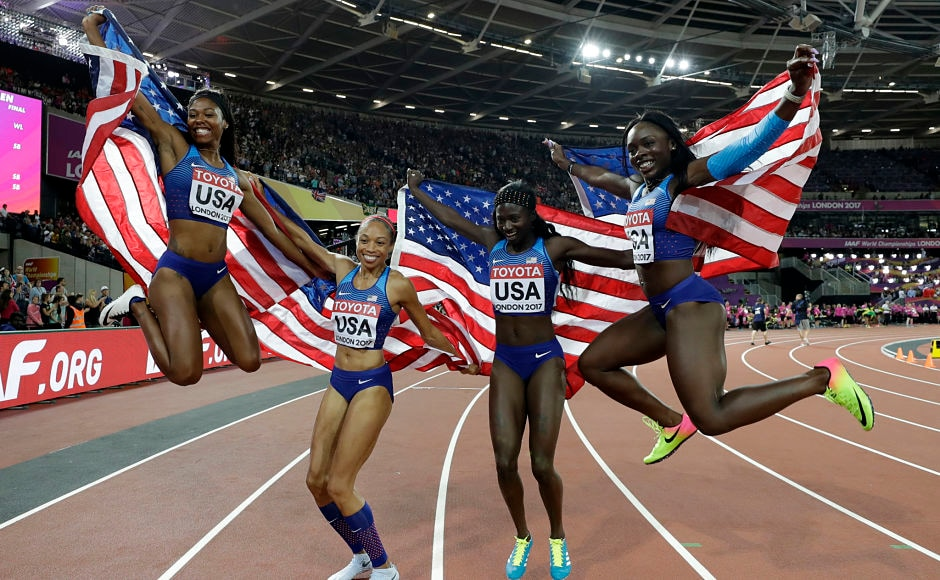 The United States' 4x100m relay team (Aaliyah Brown, Allyson Felix, Tori Bowie and Morolake Akinosun) celebrate after winning the gold. The team set a new world level with a time of 41.82 seconds to win the title to add on to their Rio Olympic gold. AP
