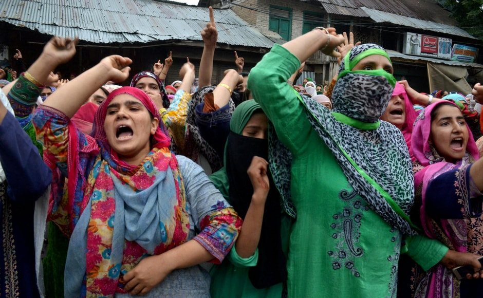 Women protesters in Srinagar on Wednesday. PTI