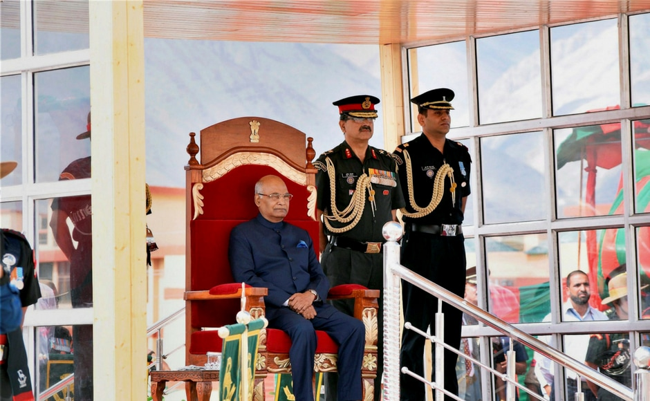 President Ram Nath Kovind presents Colours to Ladakh Scouts