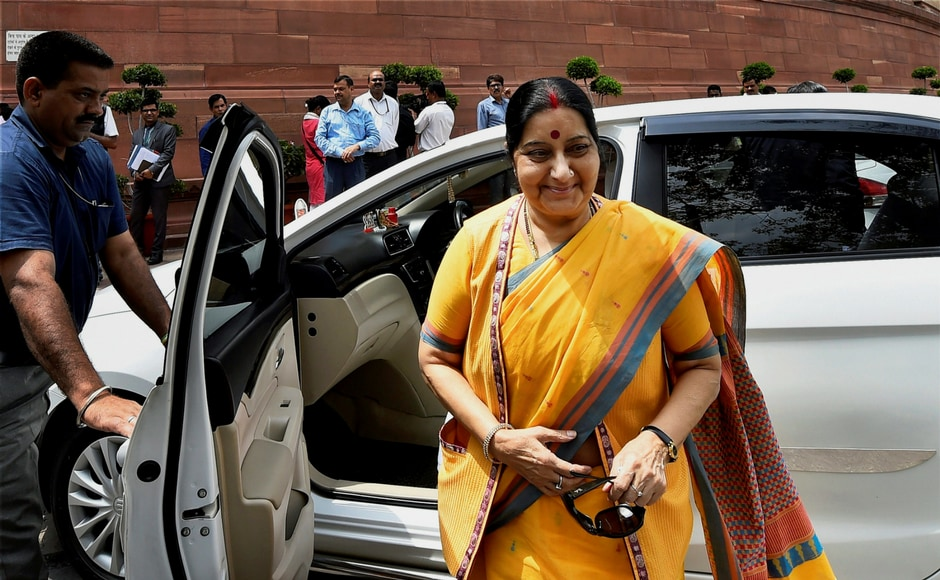 Minister for External Affairs Sushma Swaraj arrives at the Parliament during the ongoing monsoon session in New Delhi on Thursday. PTI
