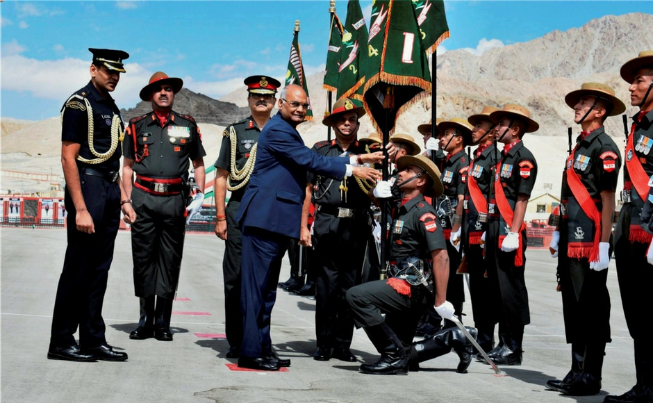 President Ram Nath Kovind at the presentation of the President's Colours to the Ladakh Scouts Regimental Centre and all five battalions of the Regiment, at Leh in Ladakh on Monday. PTI