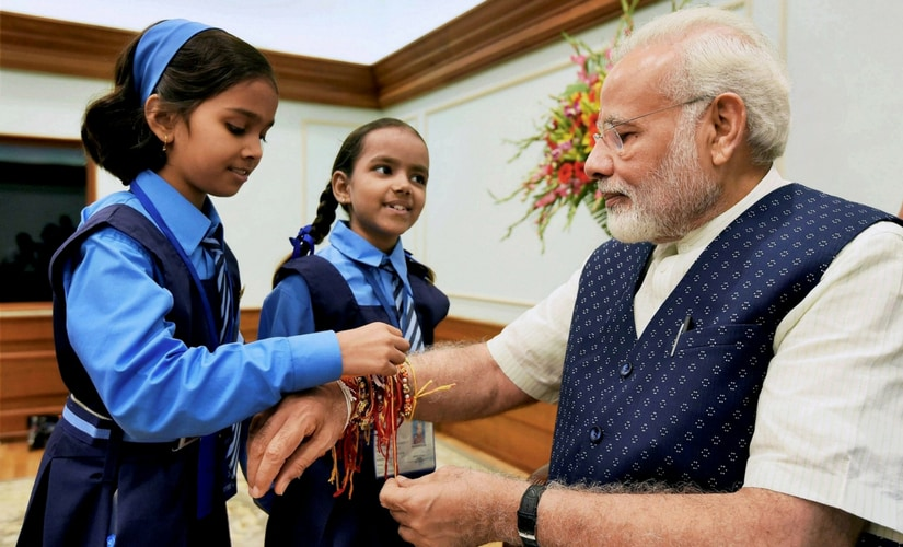 "Modi blessed the children and conveyed his best wishes to everyone on the occasion. ""Greetings on Raksha Bandhan,"" he tweeted earlier. PTI"