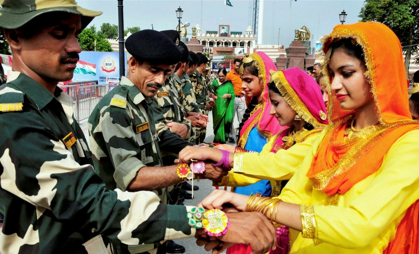 Although the festival, which celebrates the brother-sister bond, was to be observed across the country on Monday, groups of women on Saturday and Sunday visited various camps in Poonch, Udhampur and Samba districts and tied rakhis on the wrists of the jawans. PTI