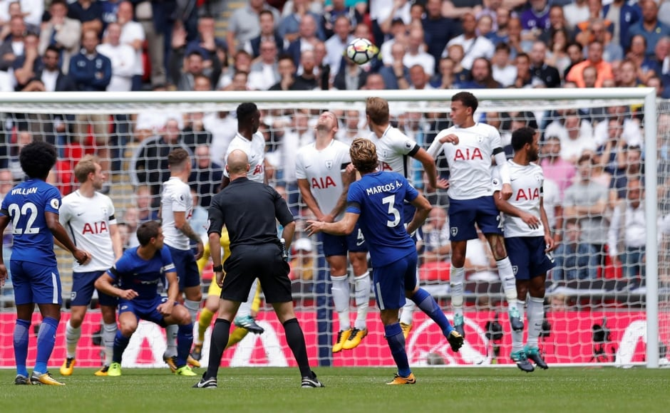 Chelsea's Marcos Alonso gave his side the lead in the 24th minute of the London Derby with a stunning freekick into the top left corner. A despairing dive from Tottenham goalkeeper Hugo Lloris wasn't enough to stop the ball-curling away from him. Reuters