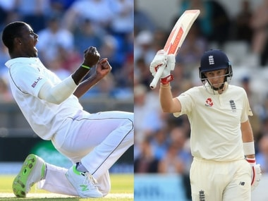 West Indies captain, Jason Holder (L), England captain Joe Root will fight it out on Day 4 as the match hangs in balance. AP