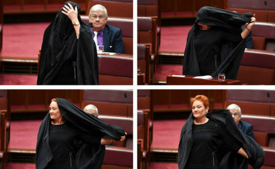 """""""There has been a large majority of Australians (who) wish to see the banning of the burqa,"""" said Hanson, an outspoken fan of President Donald Trump, as senators objected. Senate president Stephen Parry said Hanson's identity had been confirmed before she entered the chamber. He also said he would not dictate the standards of dress for the chamber. AP"""