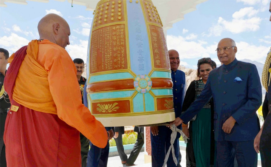 President Ram Nath Kovind during a visit to Mahabodhi International Meditation Centre in Leh, Jammu & Kashmir on Monday. PTI