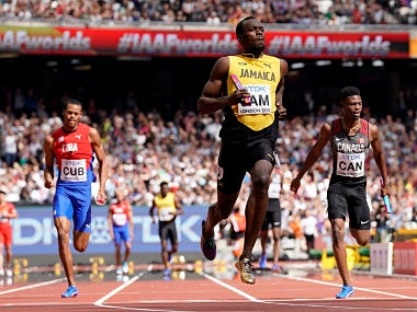 Jamaica's Usain Bolt during the men's 4x100m relay. AP