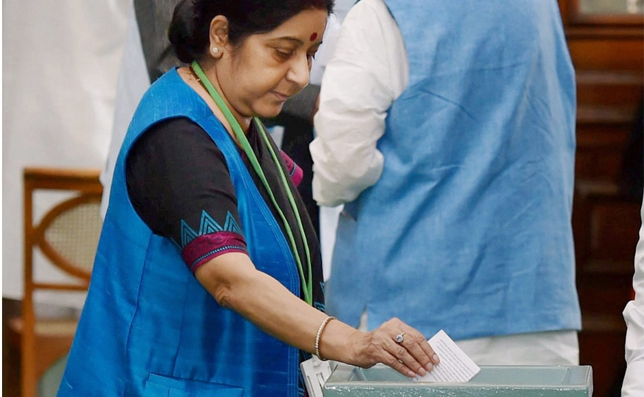 External Affairs Minister Sushma Swaraj casting her vote in the Vice Presidential election, in New Delhi on Saturday. 98.21 percent of<br />members of Parliament exercised their franchise, with 771 MPs out of 785 MPs voting. PTI