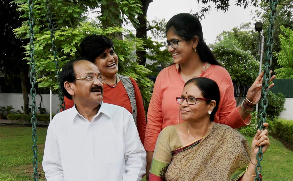 Venkaiah Naidu, along with his wife Usha, daughter Deepa Venkat and granddaughter Sushma at his residence in New Delhi. A two-term member of the Andhra Pradesh Legislative Assembly, he was elected to the Rajya Sabha three times from Karnataka. He represented Rajasthan in the Upper House of Parliament before he was nominated to the vice president's post by the NDA. PTI