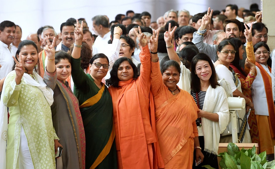 Women MP's during Vice Presidential election, at Parliament House in New Delhi on Saturday. Venkaiah Naidu will be the 13th person to hold the second highest Constitutional post. PTI