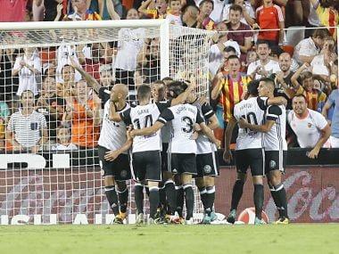 Valencia players celebrating after Simone Zaza's opening goal. Twitter @LaLigaEN