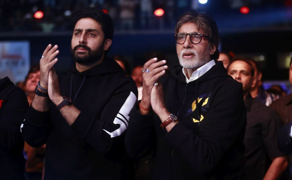 Bollywood superstar Amitabh Bachchan, his son Abhishek Bachchan and a string of other celebrities were among fans at the National Sports Club of India in Mumbai. AP
