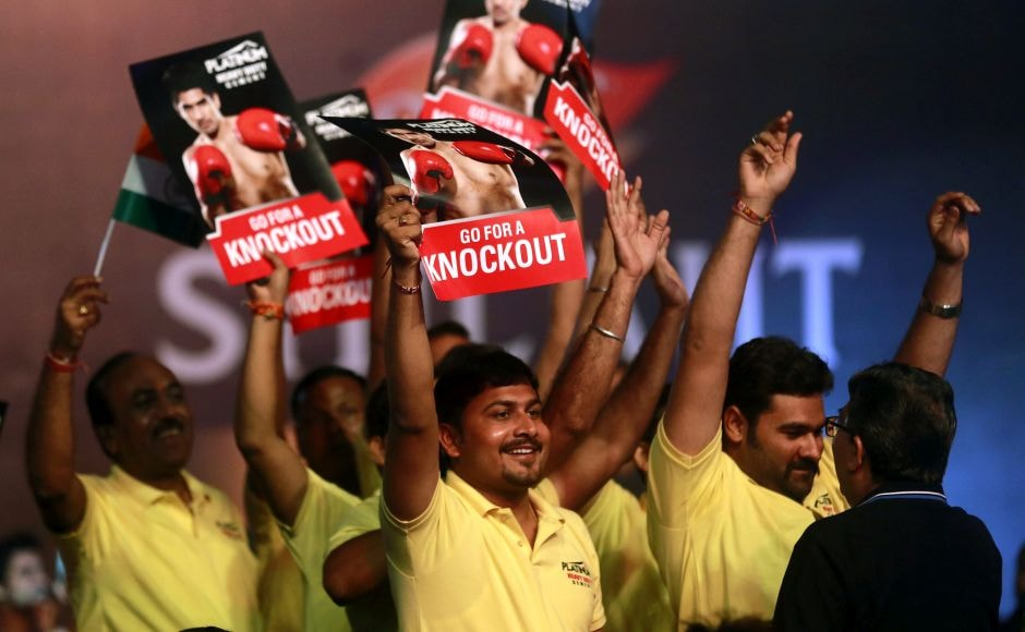 There were several Indian supporters cheering on Vijender Singh. AP