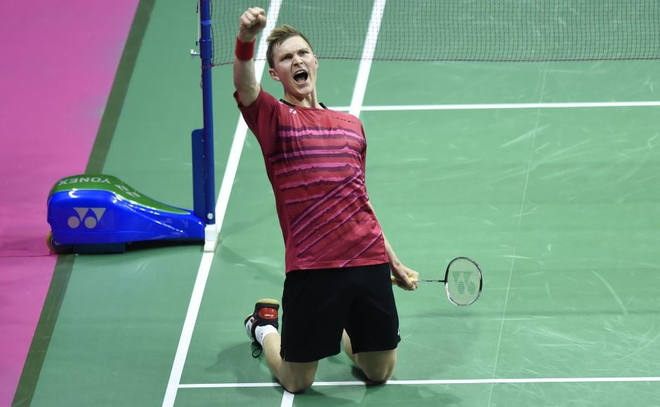 Denmark's Viktor Axelsen celebrates after beating Taiwan's Chou Tien Chen during their quarter-final. AFP