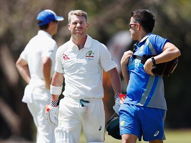 Australia vice-captain David Warner was hit on the helmet during a intra-squad. Image courtesy: Twitter @CricketAus