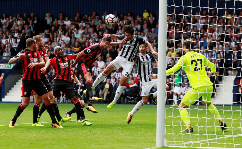 West Bromwich Albion's Ahmed Hegazy scored their first and only goal in the Premier League opener against Bournemouth. Reuters