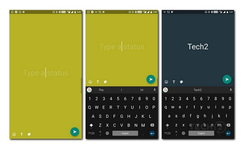 WhatsApp coloured text status updates