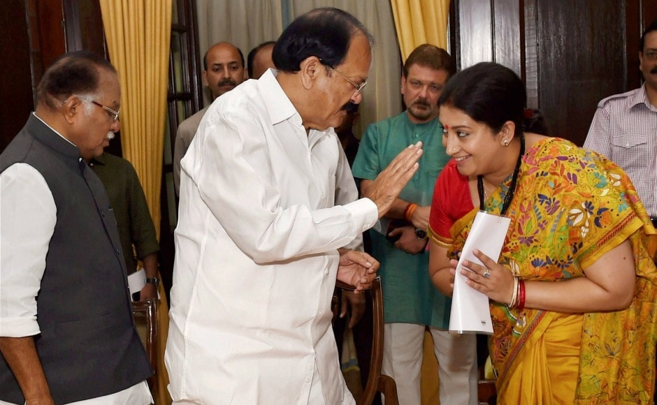 Rajya Sabha Chairman M Venkaiah Naidu administered the oath to Shah as well as Union minister Smriti Irani. Shah and Irani were both elected from Gujarat earlier this month. PTI